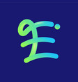 modern 3d flow logo hand drawn initial letter e vector image vector image