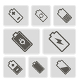 monochrome icons with batteries vector image