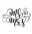 mr and mrs text on white background hand drawn vector image