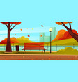 park landscape view autumn or fall scenery vector image vector image