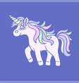 pink unicorn with yellow horn on blue background vector image vector image