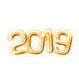 realistic 2019 golden air balloons new year vector image vector image