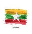realistic watercolor painting flag myanmar vector image vector image