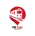 red pin train logo design vector image vector image