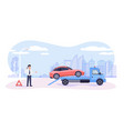 roadside assistance concept broken car on tow vector image