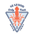 seafood colored emblem or badge with squid vector image