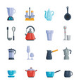 set of food kitchen dishes vector image