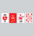 set valentine day cards love posters vector image vector image