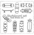 skateboard hand drawn doodle set vector image