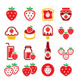 strawberry fruit red icon set - healthy foo vector image vector image