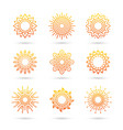 sun icon set isolated on white background vector image vector image