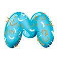sweet donut font letter m cartoon vector image vector image
