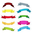 ten multicolor ribbons and banners for web design vector image vector image