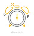 Thin line icons Alarm clock vector image