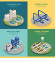 Wastewater purification isometric icons square vector image