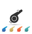 whistle icon on white background referee symbol vector image