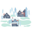 winter snowy houses and nature vector image vector image
