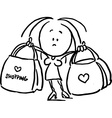 woman holding shopping bags - black outline sketch vector image vector image