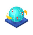worldwide route logistics isometric 3d icon vector image