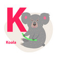 zoo abc letter with cute koala cartoon vector image