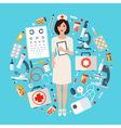 Nurse with Medical Icons Set Health Care Stuff vector image