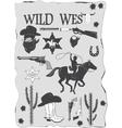 Set of wild west cowboy designed elements vector image