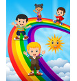 happy kids standing over the rainbow vector image