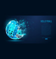 abstract silhouette of volleyball ball neon vector image