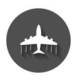 airplane icon flat plane with long shadow vector image vector image