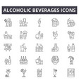 alcoholic beverages line icons for web and mobile vector image
