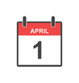 april 1 fool day calendar icon in flat style vector image vector image