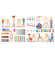 artists at work and art supplies set vector image vector image