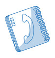 blue shading silhouette cartoon phone book with vector image vector image