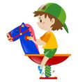 boy riding on rocking horse vector image