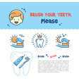 brush your teeth childrens card child dental vector image vector image