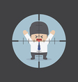 Businessman in the rifle sight