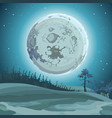 cartoon background big moon at night over the vector image vector image