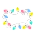 Christmas lights bulbs garland frame vector image