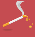 cigarette with a smoke formed coin vector image vector image