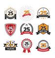 collection of retro twenty five anniversary logo vector image vector image