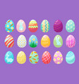 colorful eggs happy easter celebration symbols vector image