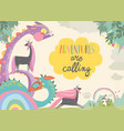 cute magic frame composed unicorns and dragons vector image vector image