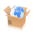 earth in an open cardboard box vector image vector image