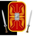 fantasy shield and sword vector image vector image