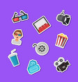 flat cinema icons stickers set vector image vector image