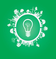 Green Eco Earth On green Background vector image