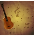 guitar on paper background with music notes vector image vector image