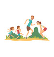 happy family walking in park father mother vector image vector image