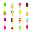 ice cream species a set of 16 ice-cream in flat vector image
