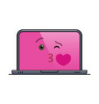 kissing laptop computer isolated emoticon vector image vector image